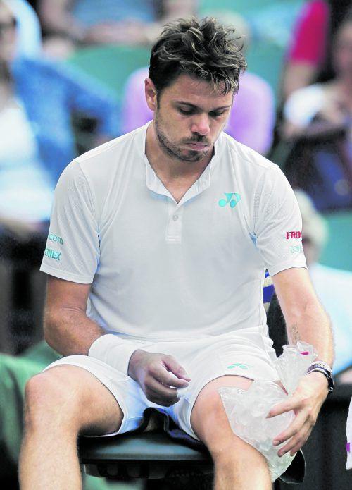 Das Knie als Problemzone bei Stan Wawrinka.Foto: ap