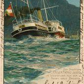 """<p class=""""solobild"""">Der Salondampfer """"Kaiser Franz Josef I."""" bei Weststurm auf der Fahrt nach Bregenz. Die reguläre Höchstgeschwindigkeit betrug 25,6 km/h.</p>"""