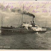 """<p class=""""solobild"""">Die """"Dornbirn"""" nach der Umbenennung mit dem Ende der Monarchie. Beim Bregenzer Seenachtsfest 1938 war sie als Kriegsschiff ausstaffiert eine Attraktion.</p>"""