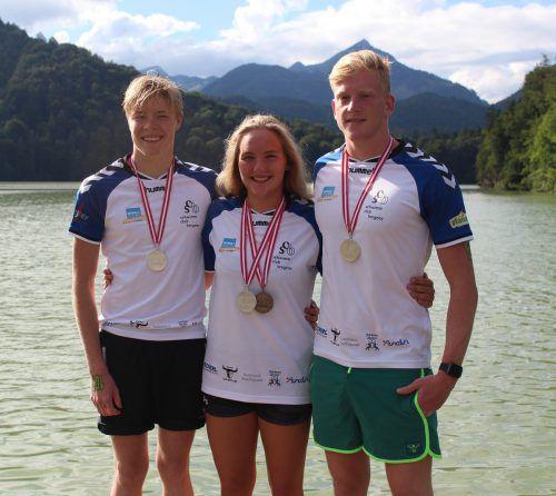 Die OSV-Vizemeister im Team (v. l.): Wendelin Wimmer, Christina Pschorr und Paul-Lucas Grabher.Foto: privat