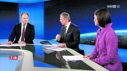 Gerold Riedmann (lilnks) in der ZIB 2 mit Armin Wolf und Alexandra Föderl-Schmid. Über 600.000 sahen zu. Foto: ORF