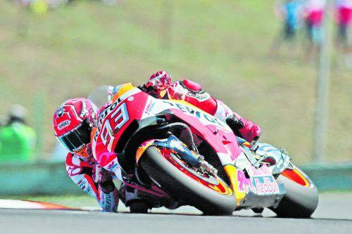 Marc Marquez setzte in Brünn früh auf profillose Reifen und gewann dadurch das Rennen am Ende klar. gepa