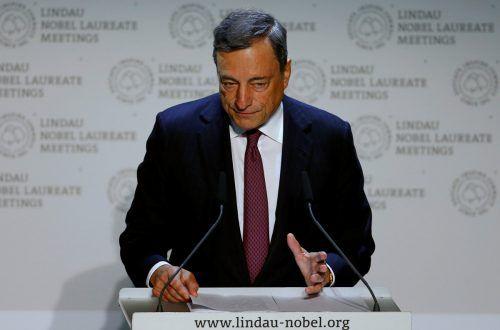 Mario Draghi sprach bei der Lindauer Tagung der Wirtschaftswissenschaften vor Nobelpreisträgern und Nachwuchsökonomen. Foto: reuters