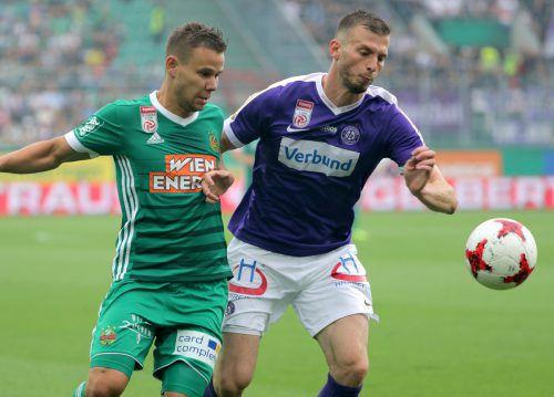 Petar Filipovic (r.) fehlt der Austria beim Spiel in Osijek, da er kurz vor einem Transfer zum türkischen Cupsieger Konyaspor steht.Foto: gepa