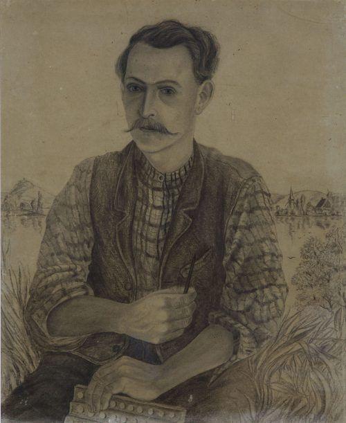 Selbstbildnis mit Handorgel, 1906.
