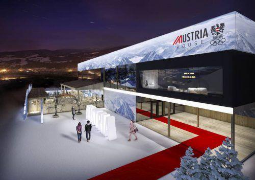 Mit dem Aufbau des Austria House wurde im November begonnen, derzeit ist der Innenausbau im Gange.