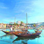 Traditionelle Schiffe am Douro