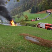 Wohnmobil in Flammen