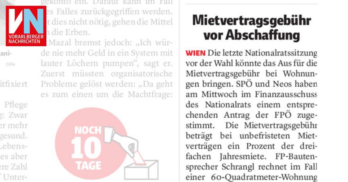 Mietvertragsgebühr Vor Abschaffung Vorarlberger Nachrichten Vnat
