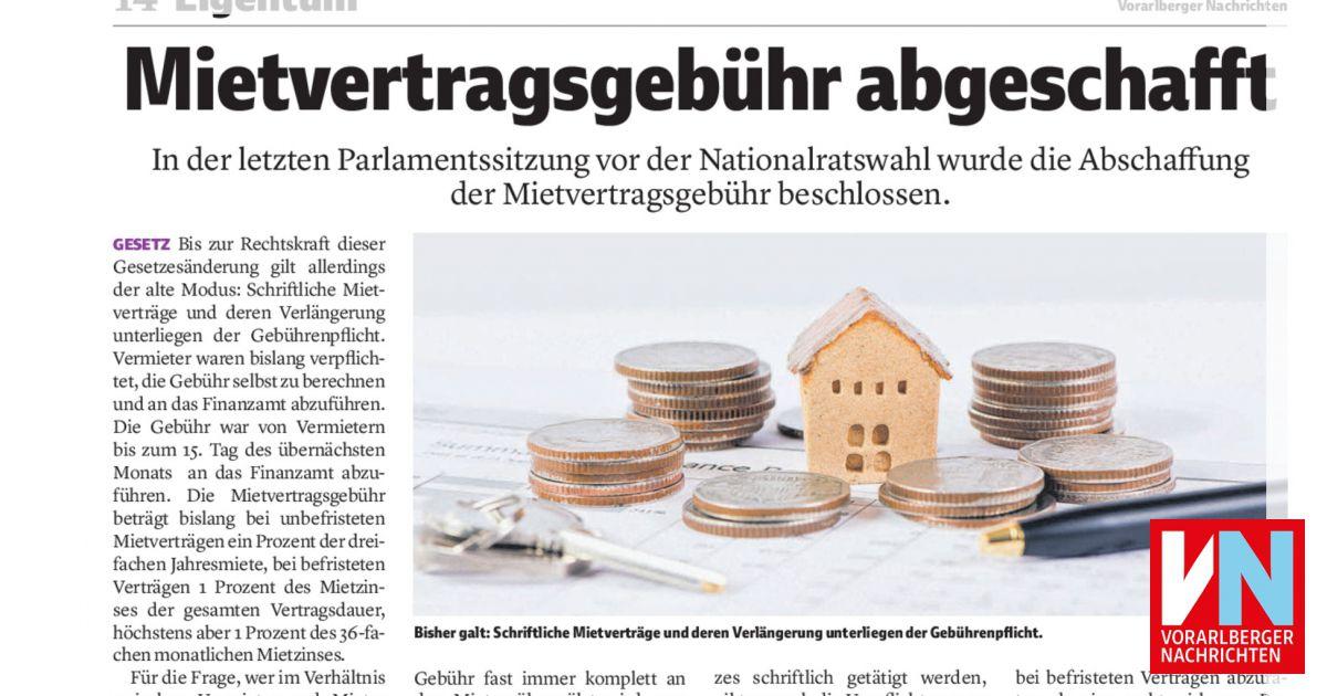 Mietvertragsgebühr Abgeschafft Vorarlberger Nachrichten Vnat
