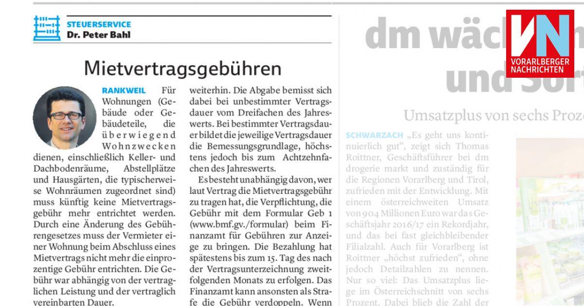 Mietvertragsgebühren Vorarlberger Nachrichten Vnat