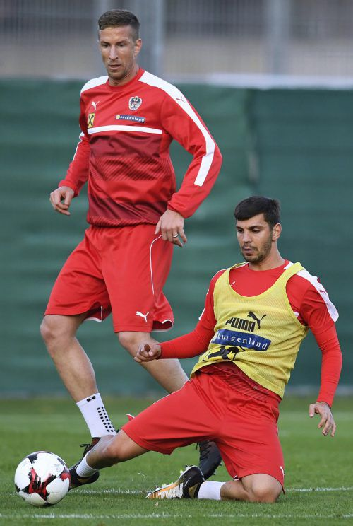 Stürmer Marc Janko (im Bild links gegen Teamkollege Aleksandar Dragovic) denkt nicht daran, seinen Teamrücktritt zu verlautbaren.APA