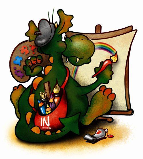 Maskottchen Ingo lädt die Kinder zum Malwettbewerb ein. Interspar