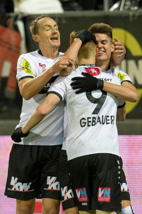 Das Trio Hannes Aigner, Christian Gebauer und Mathias Honsak (v. l.) erzielte 13 der 24 Altacher Tore im Herbst. gepa