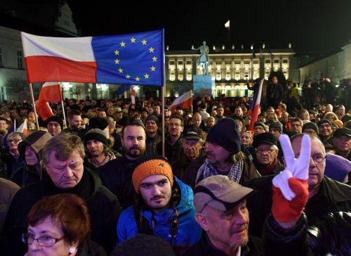 Die Pläne der Regierung zur Reform der Justiz haben in den letzten Monaten innerhalb Polens immer wieder für Proteste gesorgt. AFP