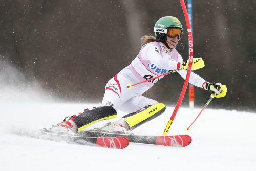 Die Vorarlbergerin Katharina Liensberger steht im heutigen ÖSV-Aufgebot. Ihr bestes Weltcup-Ergebnis holte sie diese Saison mit Platz 15 beim Slalom in Killington (USA).gepa