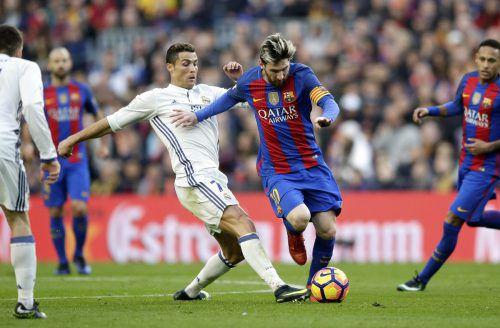 Ein Höhepunkt wie immer beim EL Clásico ist das Duell zwischen Cristiana Ronaldo und Lionel Messi.AFP