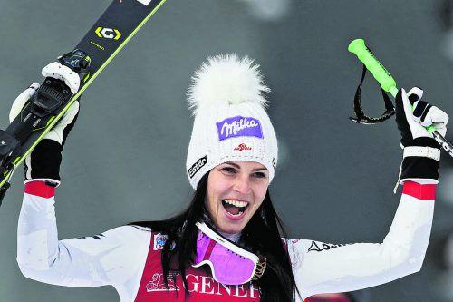 """Erlösender Triumph für Anna Veith: """"Der Sieg ist aber enorm wichtig für mein Selbstvertrauen"""", gab sich die Ex-Weltcupsiegerin in ihren Interviews höchst emotional.reuters"""