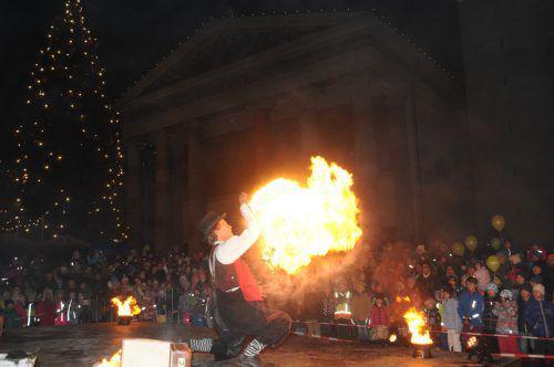 Jedes Jahr ein Highlight: Clown Pompo mitseiner Feuershow. Dornbirn tourismus