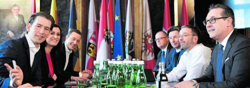 Regierungsverhandlungen im Palais Epstein: Gestern gegen 20.30 Uhr gingen die Koalitionsverhandlungen 64 Tage nach der Wahl erfolgreich zu Ende.APA