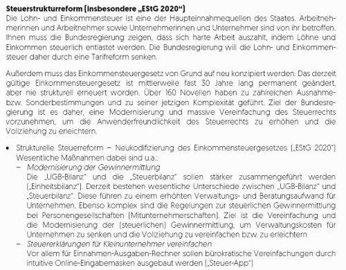 """Steuerreform Steuerentlastung ist eine der großen Ansagen der neuen Regierung, in ihrem Programm steht wenig Verbindliches dazu: Eine Umsatzsteuer-Senkung auf zehn Prozent für Übernachtungen im Sinne der Tourismusbranche. Und die Einführung eines Familienbonus von 1500 Euro pro Kind; im Gegenzug werden Kinderfreibetrag (440 Euro) und Absetzbarkeit der Kinderbetreuungskosten (bis zu 2300 Euro) abgeschafft. Zur Streichung der Kalten Progression heißt es, dazu werde es eine """"Prüfung"""" geben; sicher ist das damit nicht. Größe Entlastungen soll ein """"Einkommensteuergesetz 2020"""" bringen. Details dazu sind offen."""