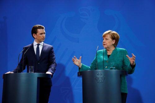 Bundeskanzler Sebastian Kurz besuchte seine deutsche Amtskollegin Angela Merkel im Kanzleramt in Berlin. reuters