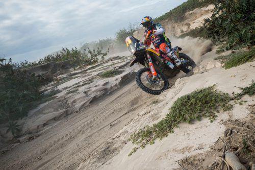 Ein echter Kampf, eine Etappe am Limit – KTM-Pilot Matthias Walkner verbesserte sich bei der Dakar auf den vierten Gesamtrang.gepa