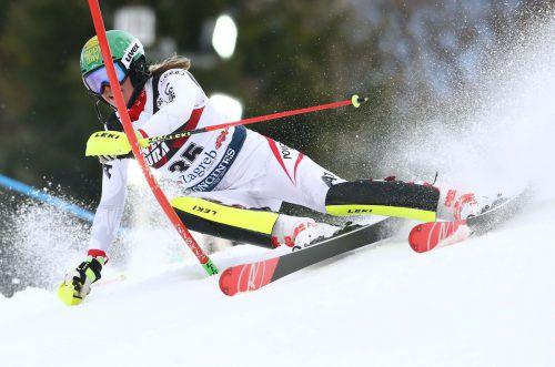 Feines Skifahren: Katharina Liensberger lieferte beim Slalom in Zagreb mit Platz acht ihr bestes Karriereresultat im Ski-Weltcup ab.reuters