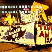 Proteste in Zürich gegen Trump beim Weltwirtschaftsforum in Davos. A2