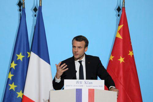 Frankreichs Präsident startete seinen Besuch in der alten Kaiserstadt X'ian. AFP
