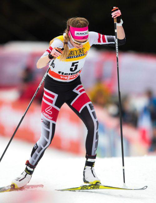 Im Berganstieg war die Steirerin Teresa Stadlober die Zweitschnellste. gepa
