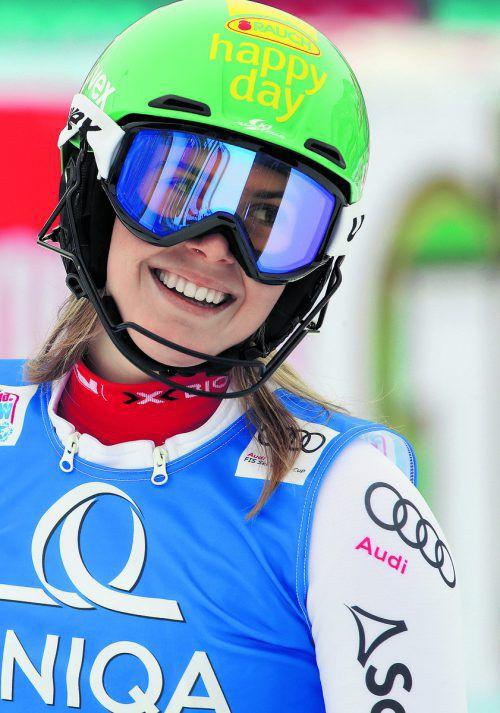 Katharina Liensberger gelang in Zagreb mit Rang acht ihr bisher bestes Weltcupresultat. gepa