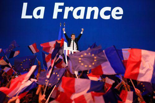 Macron jubelt im Mai 2017 über seinen Sieg gegen Le Pen.AFP