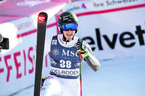 Magnus Walch freut sich über seine ersten Weltcuppunkte.gepa