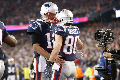 Patriots-Quarterback Tom Brady und Danny Amendola. AFP