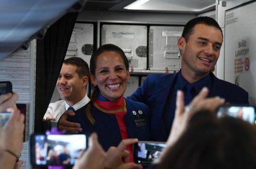 Paula Podest und Carlos Ciuffardi gaben sich im Flugzeug das Jawort. AFP