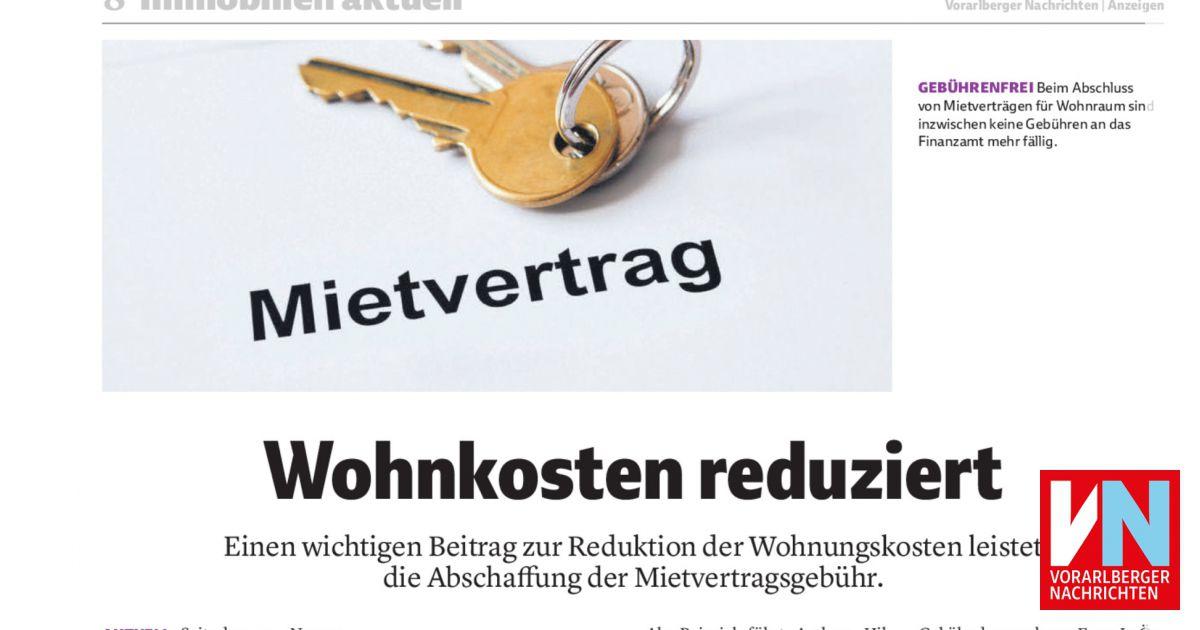 Wohnkosten Reduziert Vorarlberger Nachrichten Vnat