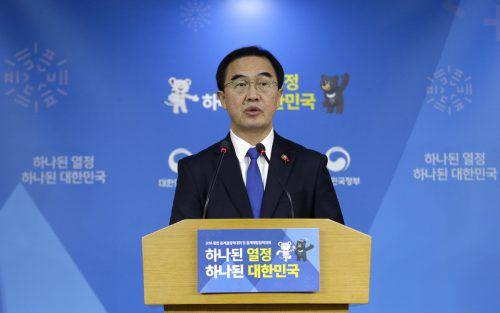 Vereinigungsminister Cho Myoung-Gyon reagierte auf Kims Vorschlag. ap