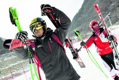 100 Meter bis zur Bahn: Max Franz (l.) und Marco Schwarz haben in Jeongseon kurze Wege.apa