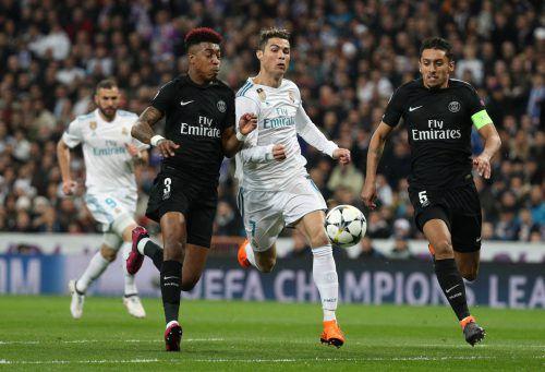 Cristiano Ronaldo war beim Spiel seiner Madrilenen gegen Paris St. Germain der große Gejagte. Dennoch war er beim 3:1-Sieg von Real mit zwei Toren der große Matchwinner.reuters