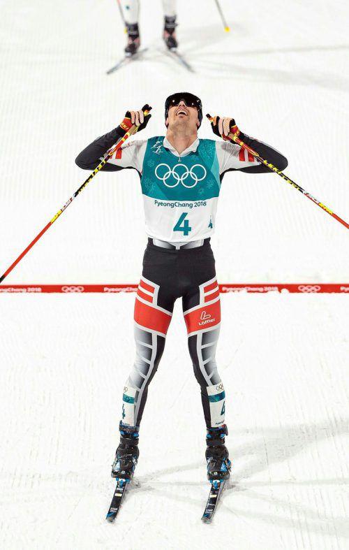 Der Steirer Lukas Klapfer hat es geschafft und nach einem harten Langlaufrennen seine erste Olympia-Einzelmedaille gewonnen.APA