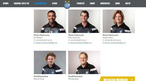 Die GC-Hompage weist Michael Kopf (unten rechts) als Kondi-Trainer aus.