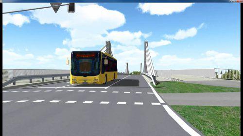 Die neue Rheinbrücke zwischen Hard und Fußach erhält eine Busspur in der Straßenmitte. ANIMATION: LAND VORARLBERG