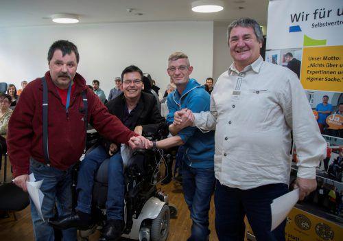 Die neuen Selbstvertreter der Lebenshilfe (von links): Hartwig Lorenz, Klaus Brunner, Robert Wilhelm und Siegfried Glössl. VN/Paulitsch