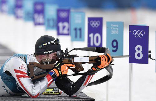 Dominik Landertinger nahm die Zielscheibe ganz genau ins Visier und verfehlte beim Olympiabewerb keinen seiner zwanzig Schüsse.Reuters