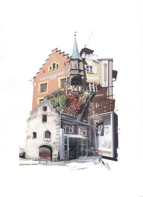 Edgar Leissing zeigt acht Collagen mit Motiven der Feldkircher Innenstadt. edgar leissing
