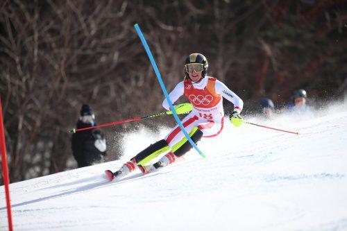 Im Slalom fuhr die Göfnerin Katharina Liensberger auf Platz acht. Beim Teambewerb könnte es vielleicht sogar eine Medaille für das Vorarlberger Ski-Ass geben.GEPA