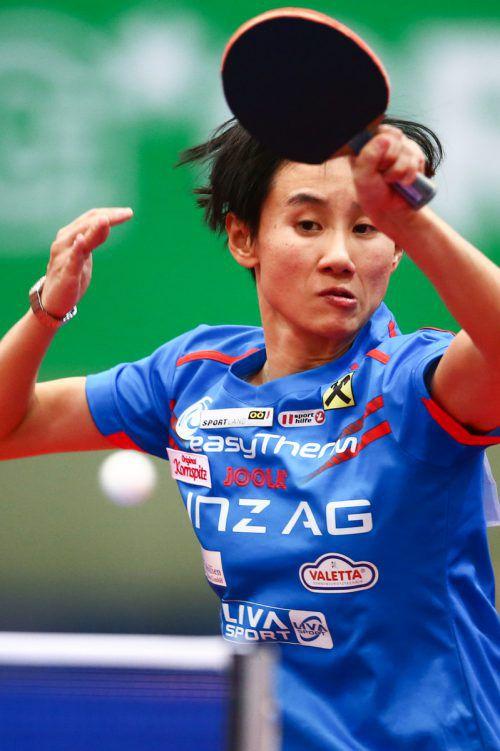 Liu Jia, Österreichs Nummer eins, wird heute ab 19 Uhr beim Tischtennis-Länderkampf gegen die Schweiz im Schindlersaal in Kennelbach leider nicht zu sehen sein. gepa