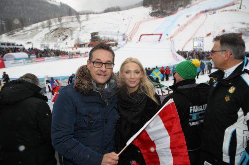 Neo-Sportminister Strache mit Gattin Philippa beim Skiweltcup in Bad Kleinkirchheim. gepa