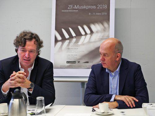 Peter Vogel (l.) und Matthias Lenz informierten über den ZF-Musikpreis 2018. hv